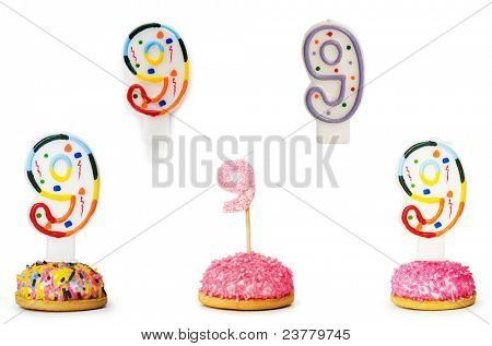 Birthday candles isolated on the white