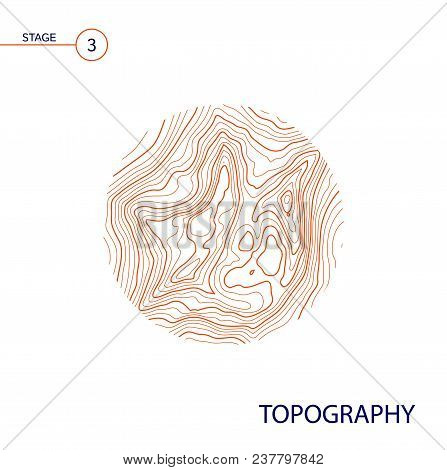 Abstract Topographic Vector Map In A Circle Form.