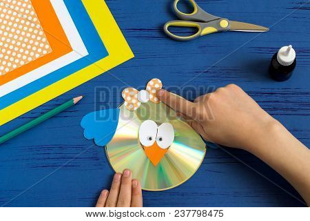 Child Makes Bird From Cd. Step 11