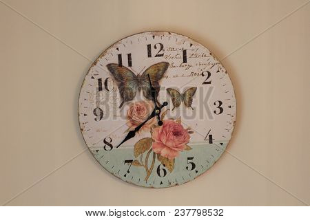 Wall Clock. Time For Wall Clock. Clock Hung Over The Wall. Old Wall Clock With Rose And Butterflies.