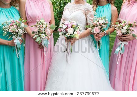 Wedding Bouquet Of Flowers Including Red Hypericum, Roses, Lilies Of The Valley, Mini Roses, Seeded