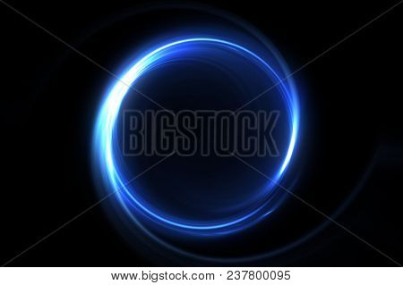 Abstract 3d Illustration Neon Background. Luminous Swirling. Glowing Spiral Cover. Black Elegant. Ha