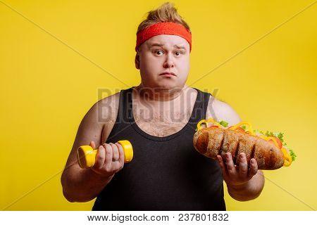 Unhuppy Fat Man Having Problen On Diet Choise