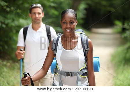 Couple hiking through the countryside