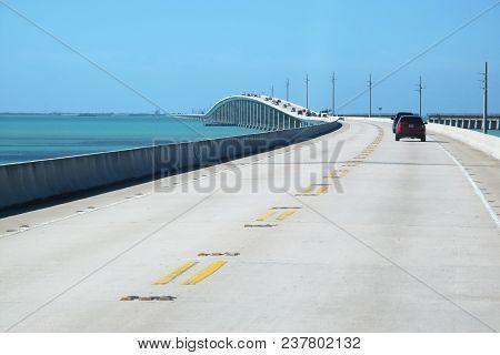 Bridge On Atlantic Intracoastal Highway Us 1, Florida Keys Interstate, Key West, Sunshine State Flor
