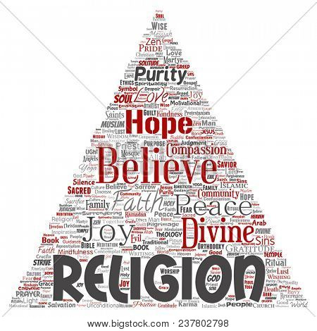 Conceptual religion, god, faith, spirituality triangle arrow red  word cloud isolated background. Collage of worship, love, prayer, belief, gratitude, hope, divine, symbol, spirit, church concept