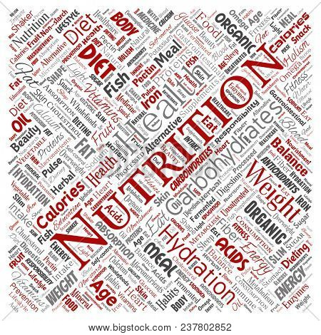 Conceptual nutrition health diet square red word cloud isolated background. Collage of carbohydrates, vitamins, fat, weight, energy, antioxidants beauty mineral, protein medicine concept