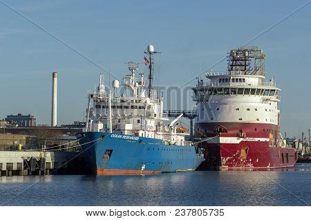 New Bedford, Massachusetts, Usa - April 24, 2018: Ocean Researcher  And Drilling Vessel Dina Polaris