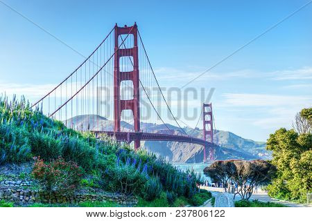 Scenic View Of The Golden Gate Bridge In San Francisco, California. The Landmark Bridge Is One Of Th