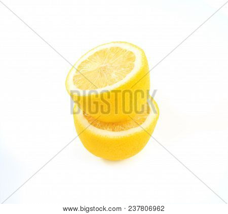 Fresh Lemon With Leaves Isolated On White Background. Amazing Benefits Of Lemon For Health. Yellow F
