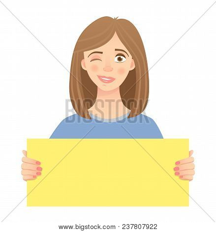 Woman Holding Blank Poster. Blank Message Vector Illustration. Hands Holding Blank Paper