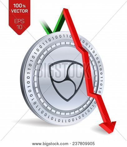 Nem. Fall. Red Arrow Down. Nem Index Rating Go Down On Exchange Market. Crypto Currency. 3d Isometri