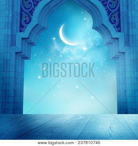 Islamic greeting Eid Mubarak cards for Muslim Holidays.Eid-Ul-Adha festival celebration.Ramadan Kareem background with  mosque window and table
