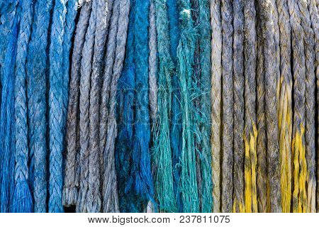 Many Colored Ropes On Reel Of Tugboat