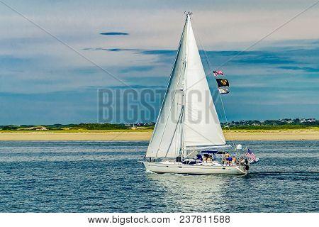 Yacht And Beautiful Landscape Of Ocean Beach Cape Cod Massachusetts Us