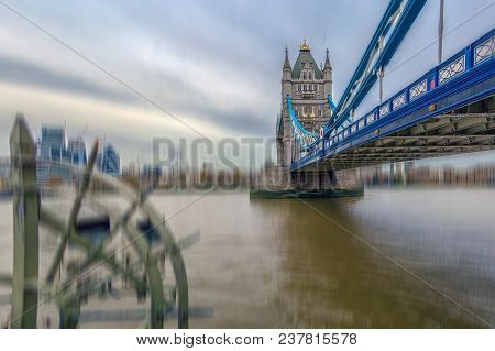 Fish Eye View Architecture From Tower Bridge And London Over River Thames With Skyscrapers. Motion B