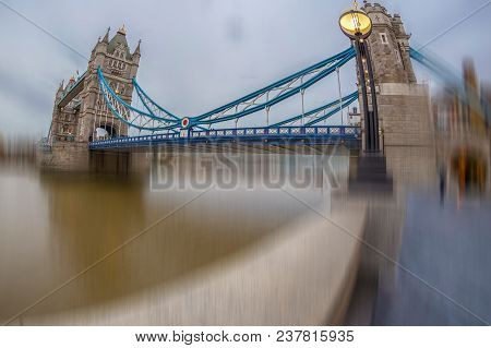 Fish Eye View Architecture From Tower Bridge In London Over River Thames. Motion Blur Filter Applied