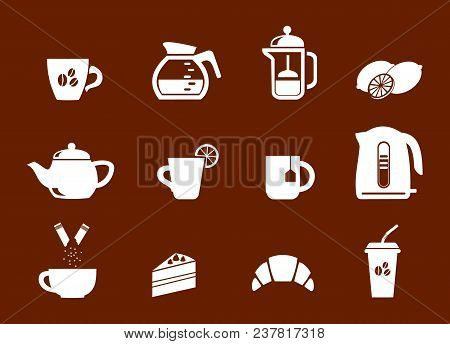 Tea And Coffee. Set Of Linear Icons For Coffeeshop. Vector Stock Illustration.