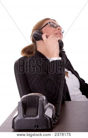 Business Woman Communication By Old Phone