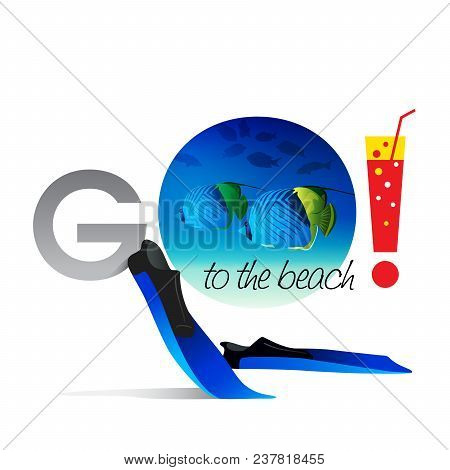 Go To The Beach On A White Background With A Cocktail And Sea