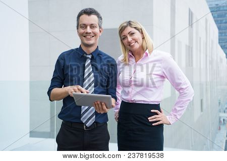Cheerful Excited Business Experts Standing And Looking At Camera. Happy Confident Managers In Formal