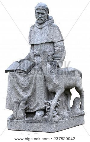 A Statue Of Saint Francis Of Assisi, Patron Saint Of Animals. Isolated On White.
