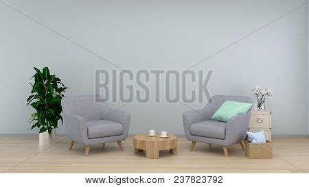 Interior Room,armchair In Living Room Interior Background,sofa In Empty Wall And Ornamental Interior