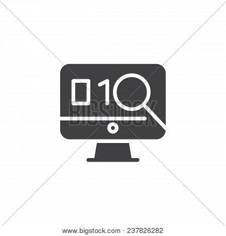 Exploit Found With Magnifying Glass Vector Icon. Filled Flat Sign For Mobile Concept And Web Design.