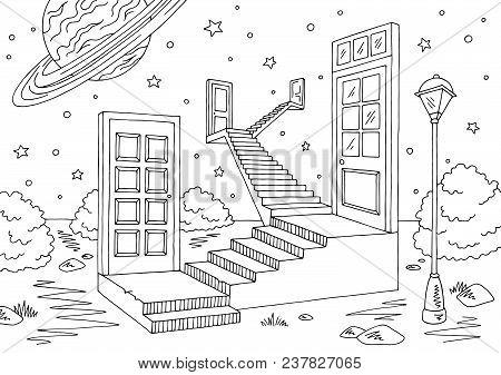 Doors Space Landscape Graphic Black White Sketch Illustration Vector