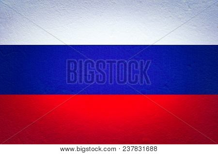 Russian Flag With The Texture Of The Plastered Wall. Colorful National Flag Of Russia. Patriotism, P