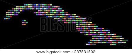 Colored Dotted Cuba Map. Vector Geographic Map In Bright Colors On A Dark Background. Bright Vector