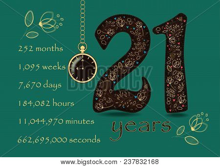 Time Counting Card. Number 21 And Pocket Watch