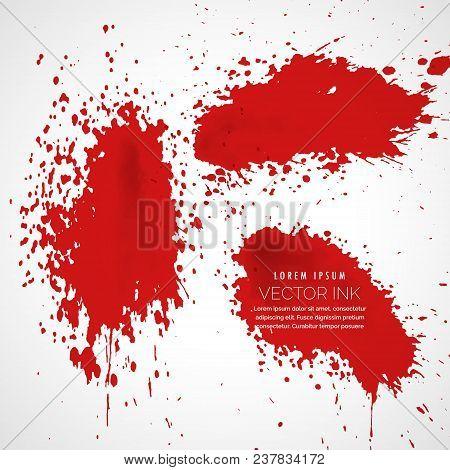 Red Blood Or Ink Splatter Collection Vector Background