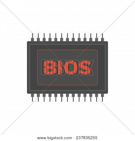 Basic Input Output System. BIOS micro chip icon. Vector. poster