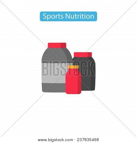 Sport Nutrition Fit Icons. Nutritional Dietary Supplements Icons Vector Illustration. Flat Style Des