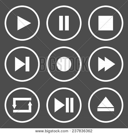 Media Player Control Buttons. Play, Pause, Stop, Record, Forward, Rewind, Previous, Next, Eject, Rep