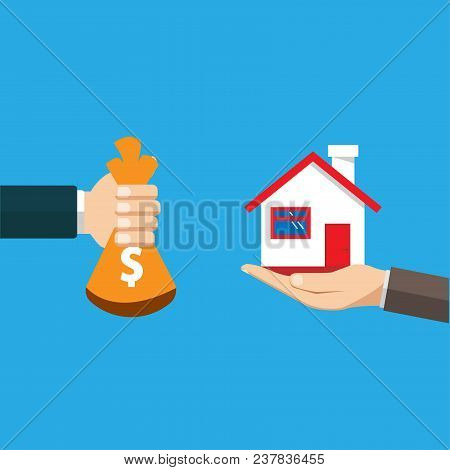 Vector Concept Of Selling A House, Save Money To Buy A House. A Man Buys A House. The Person Is Sell