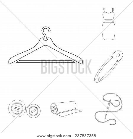 Atelier And Sewing Outline Icons In Set Collection For Design. Equipment And Tools For Sewing Vector