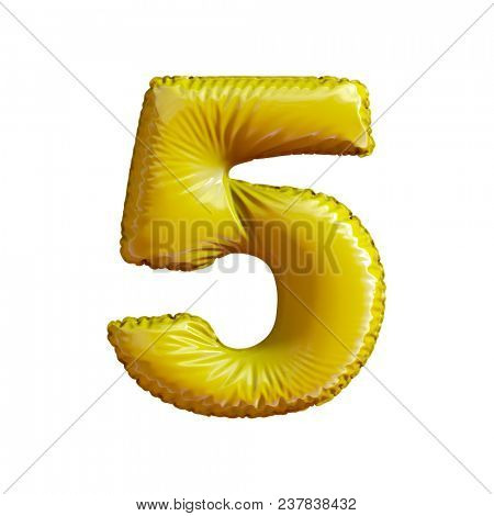 Number 5 (five) of gold balloons on a white background. 3d rendering