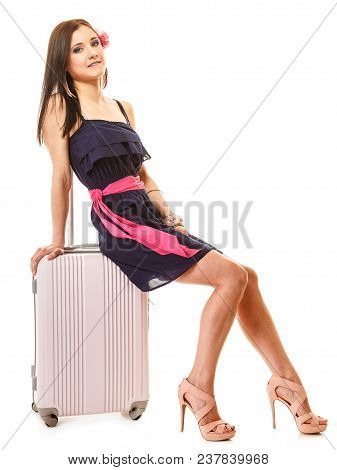 Travel Vacation Concept. Young Summer Fashion Woman In Voyage, Girl In Full Length With Pink Suitcas