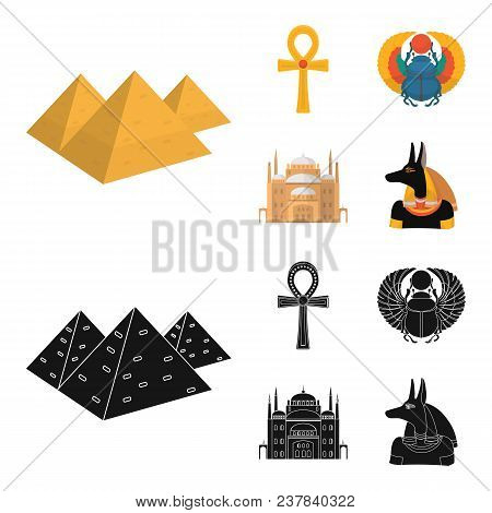 Anubis, Ankh, Cairo Citadel, Egyptian Beetle.ancient Egypt Set Collection Icons In Cartoon, Black St