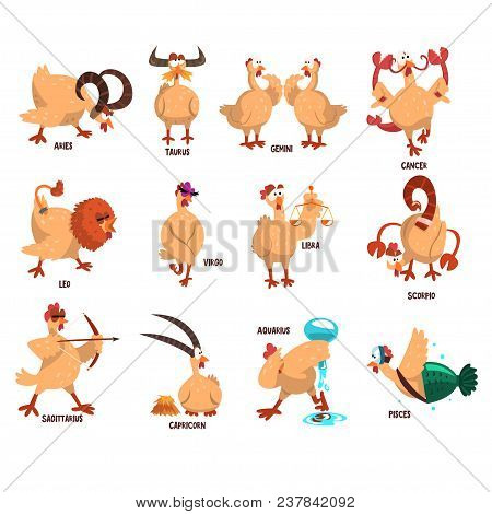 Funny Farm Chicken Showing 12 Zodiac Signs. Cartoon Character Of Domestic Bird In Different Actions.
