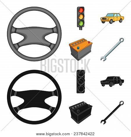 Traffic Light, Old Car, Battery, Wrench, Car Set Collection Icons In Cartoon, Black Style Vector Sym