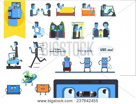Concept Of Internet Addiction. People Using Smartphones. Tablet, Laptops And Phones With Faces. Digi