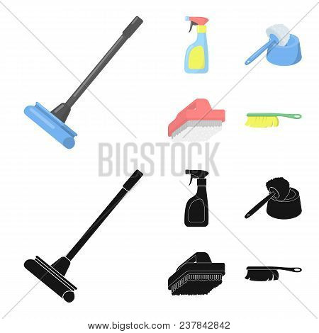 Cleaning And Maid Cartoon, Black Icons In Set Collection For Design. Equipment For Cleaning Vector S