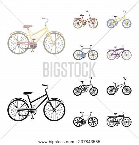 Children Bicycle And Other Kinds.different Bicycles Set Collection Icons In Cartoon, Black Style Vec