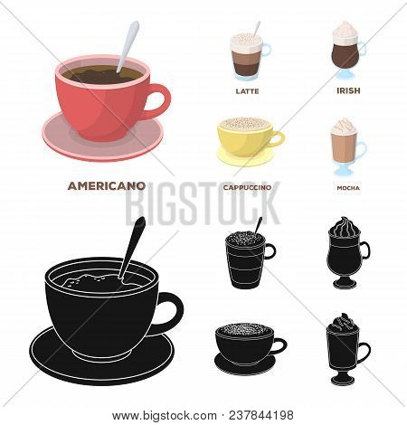 American, Late, Irish, Cappuccino.different Types Of Coffee Set Collection Icons In Cartoon, Black S