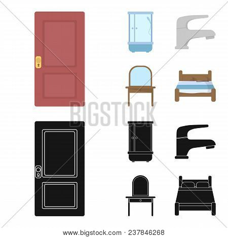 Door, Shower Cubicle, Mirror With Drawers, Faucet.furnitureset Collection Icons In Cartoon, Black St