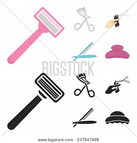 Scissors, Brush, Razor And Other Equipment. Hairdresser Set Collection Icons In Cartoon, Black Style