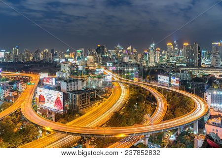 Night Of The Metropolitan Bangkok City Downtown Cityscape Urban Skyline  Thailand In December 2017 -